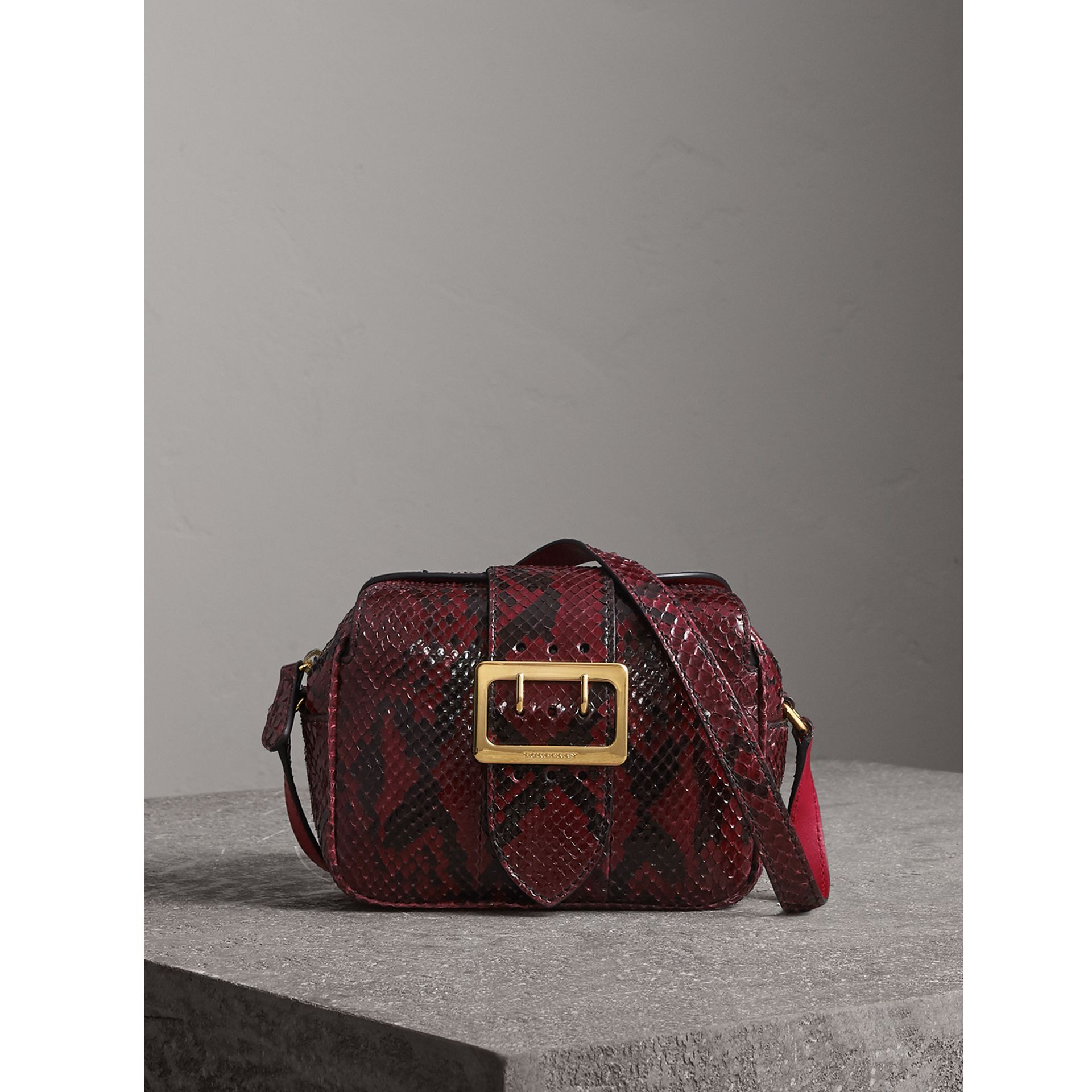 The Small Buckle Crossbody Bag in Python in Burgundy Red - Women | Burberry - gallery image 1