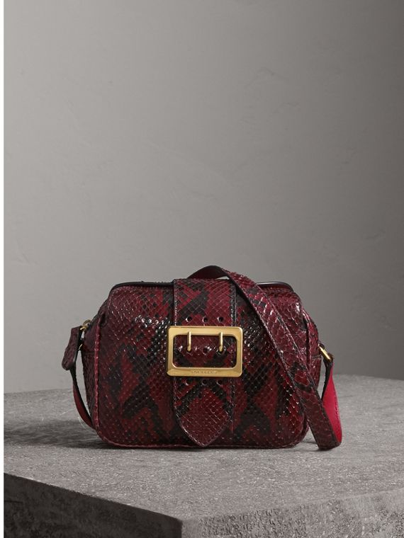 The Small Buckle Crossbody Bag in Python in Burgundy Red