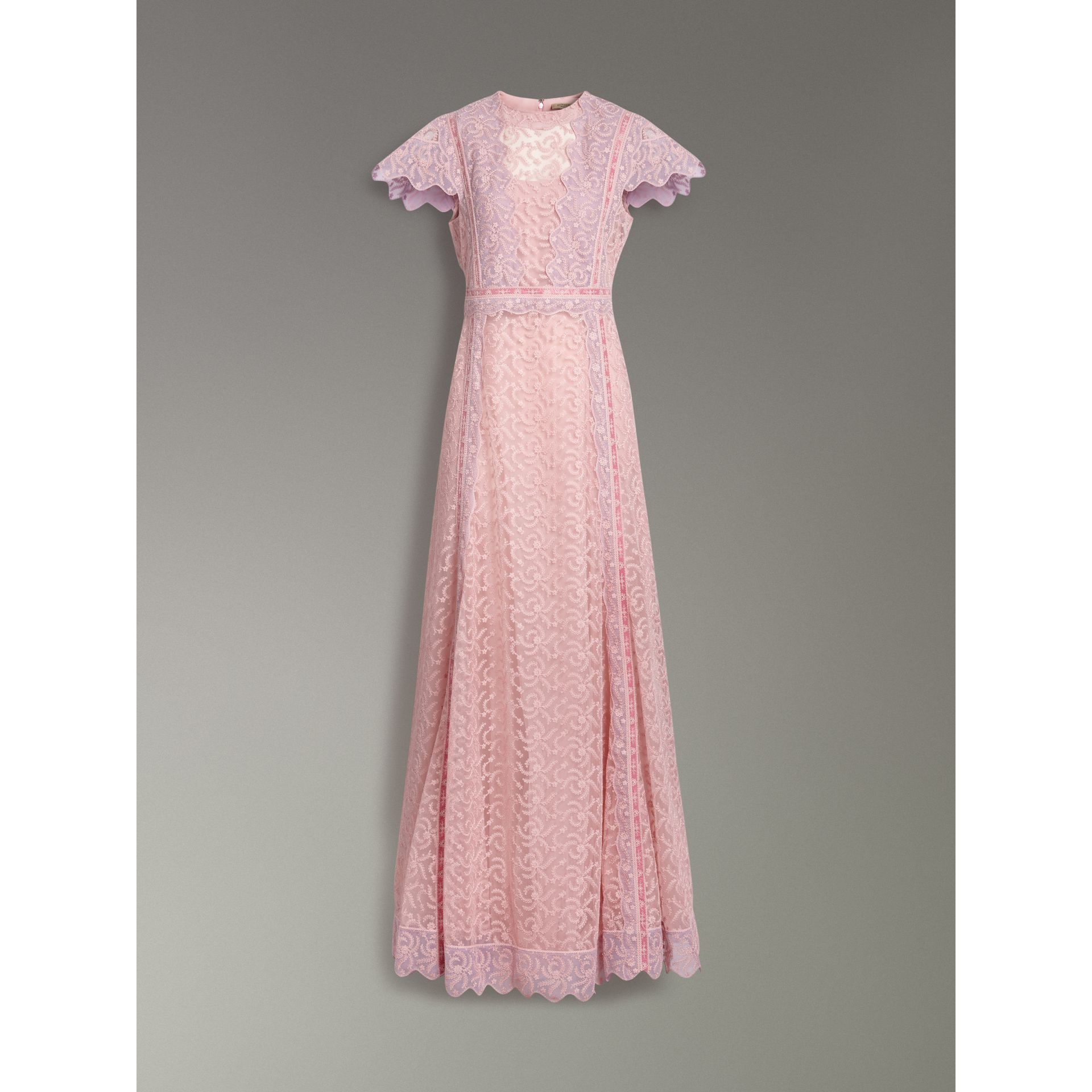 Embroidered Floral Lace and Tulle Dress in Pale Pink - Women | Burberry - gallery image 3