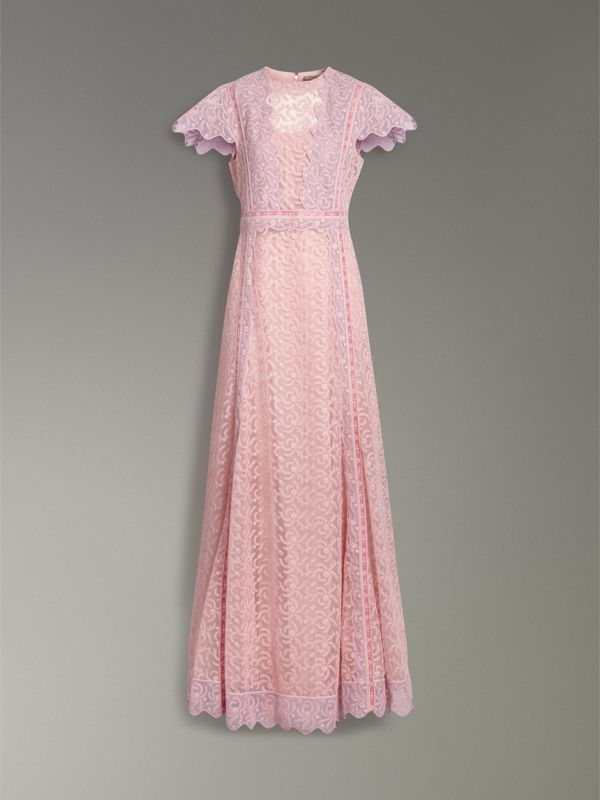 Embroidered Floral Lace and Tulle Dress in Pale Pink - Women | Burberry - cell image 3
