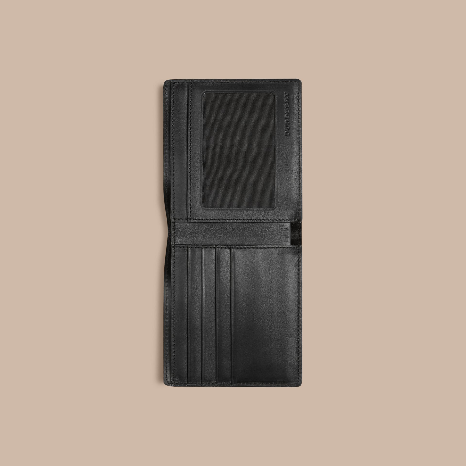 London Check ID Wallet in Chocolate/black - gallery image 4