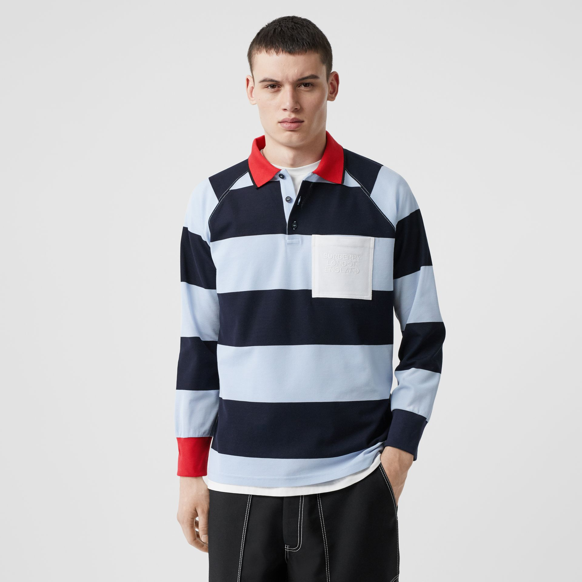 Long-sleeve Striped Cotton Piqué Oversized Polo Shirt in Pale Blue/navy - Men | Burberry Hong Kong S.A.R - gallery image 0