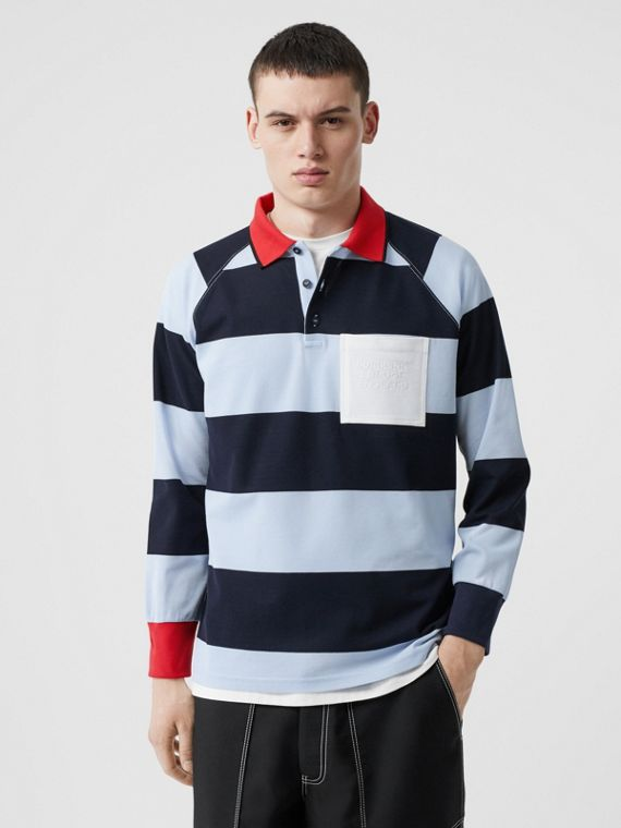 Long-sleeve Striped Cotton Piqué Oversized Polo Shirt in Pale Blue/navy