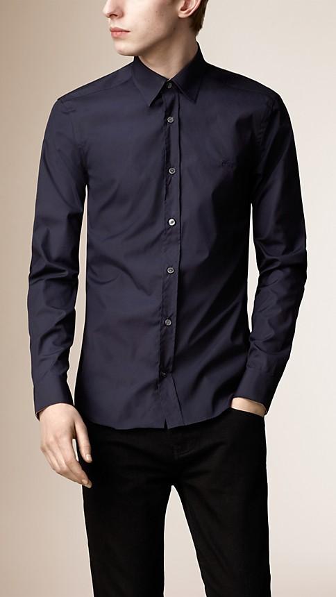 Navy Check Detail Stretch-Cotton Shirt - Image 1