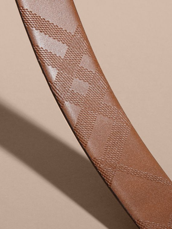 Reversible Embossed Check Leather Belt Tan - cell image 2