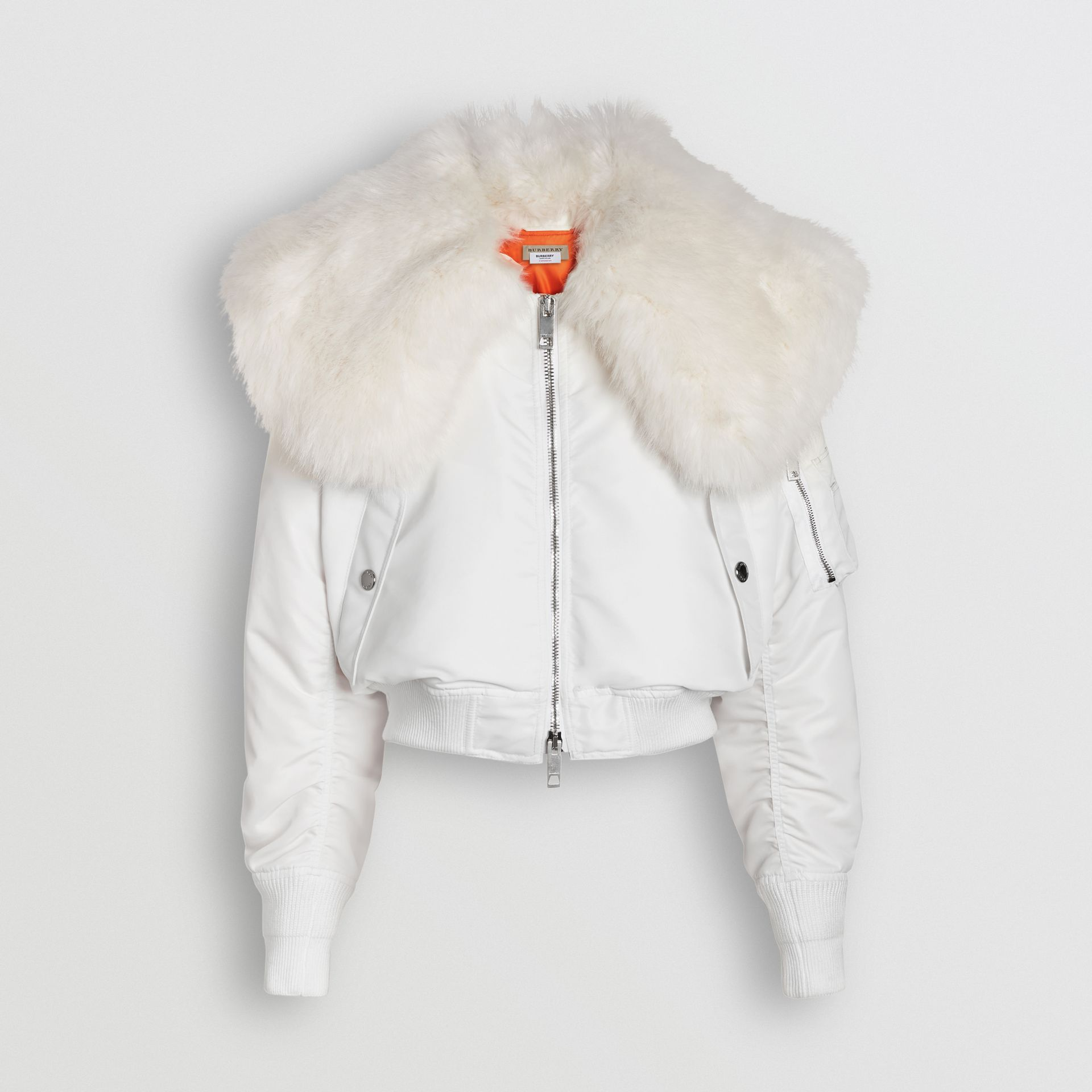 Faux Fur Collar Nylon Bomber Jacket in White - Women | Burberry - gallery image 1