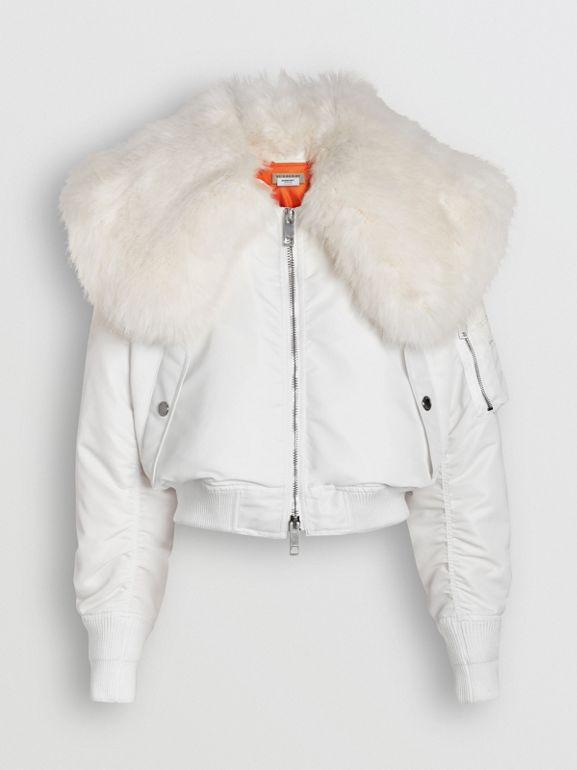 Faux Fur Collar Nylon Bomber Jacket in White - Women | Burberry - cell image 1