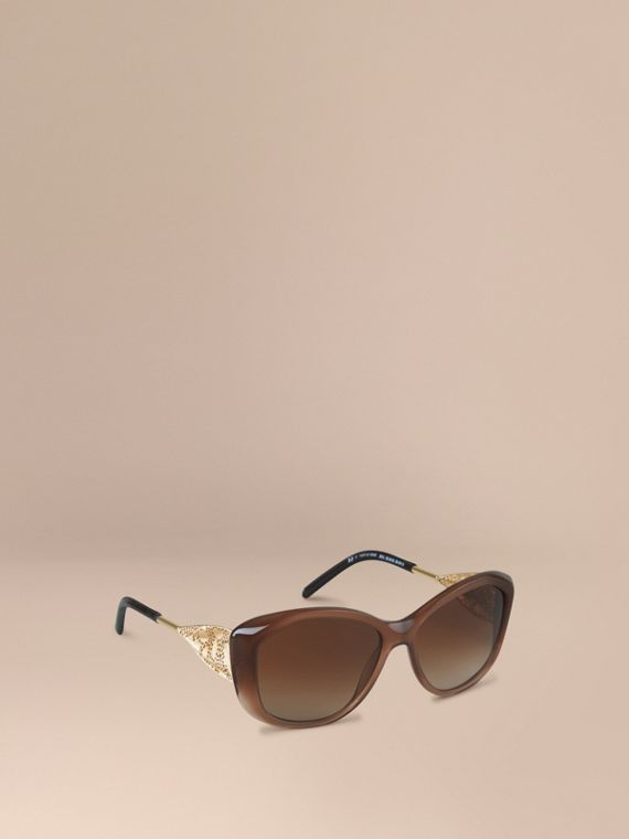Gabardine Lace Collection Square Frame Sunglasses Dark Amber