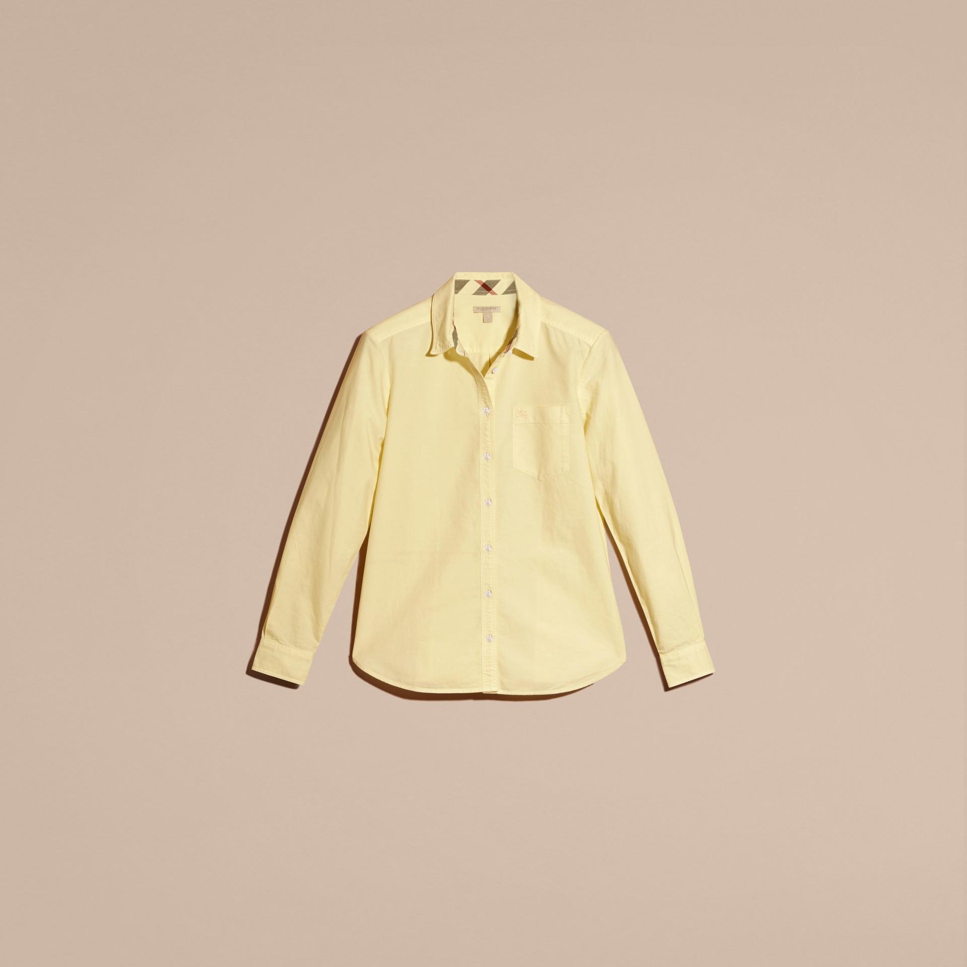 Hellgelb Bluse aus Baumwolle mit Check-Detail Hellgelb - Galerie-Bild 3