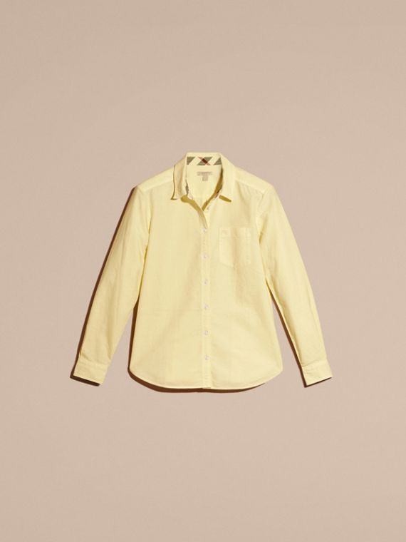 Pale yellow Check Detail Cotton Shirt Pale Yellow - cell image 2