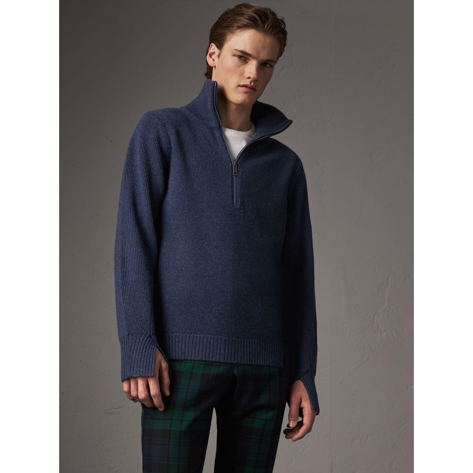 Zip Funnel-neck Wool Cashmere Sweater in Canvas Blue - Men | Burberry United Kingdom - gallery image 5
