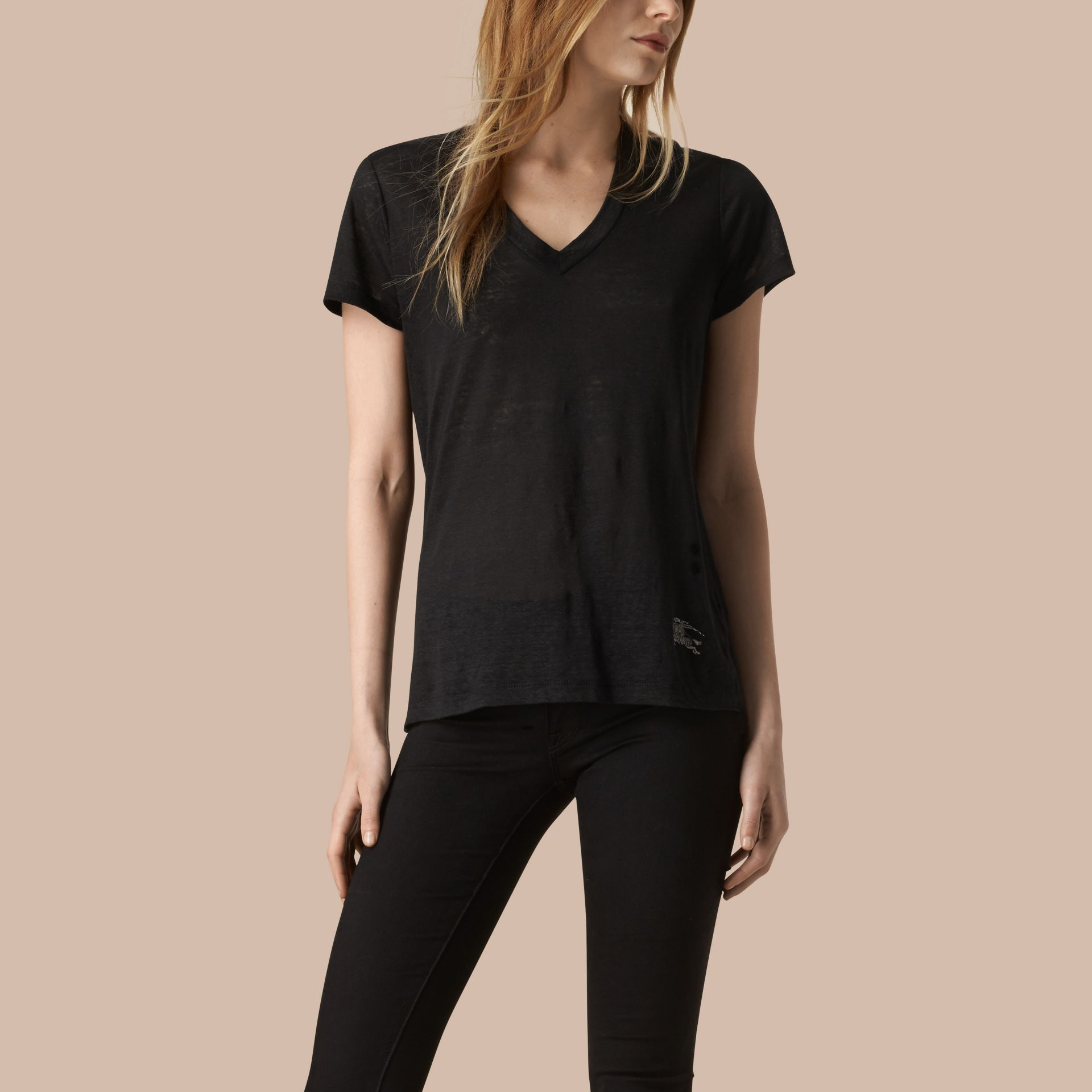 Black V-Neck Open Stitch Detail Linen T-Shirt Black - gallery image 1