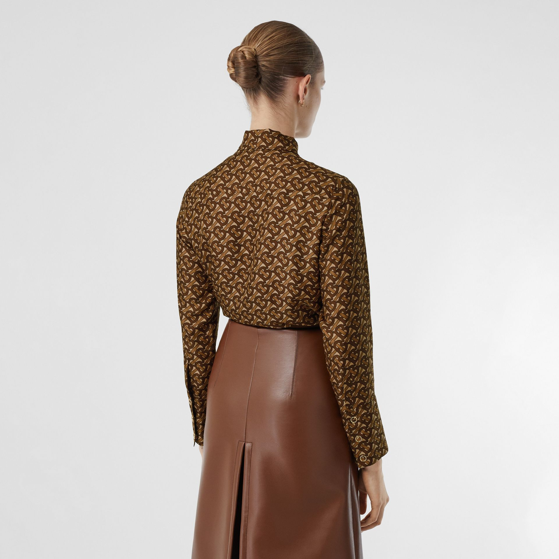 Monogram Print Silk Tie-neck Shirt in Bridle Brown - Women | Burberry - gallery image 2