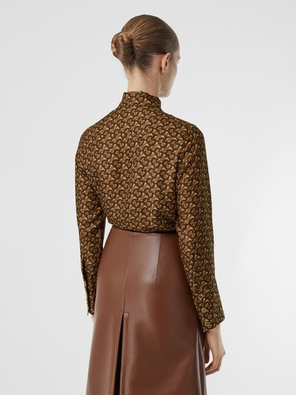 Monogram Print Silk Tie-neck Shirt in Bridle Brown - Women | Burberry - cell image 2