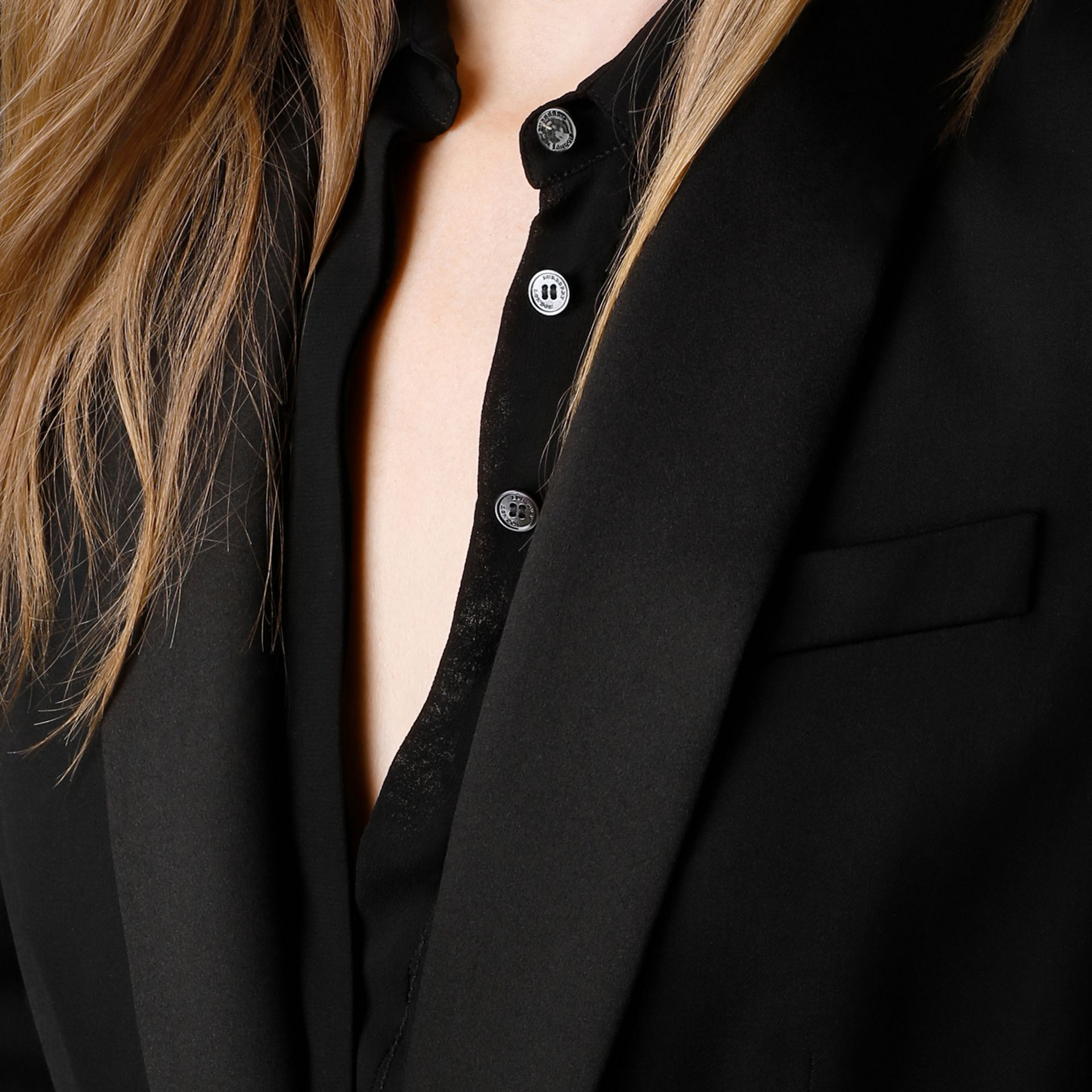 Black Stretch Wool Tuxedo Jacket - gallery image 3
