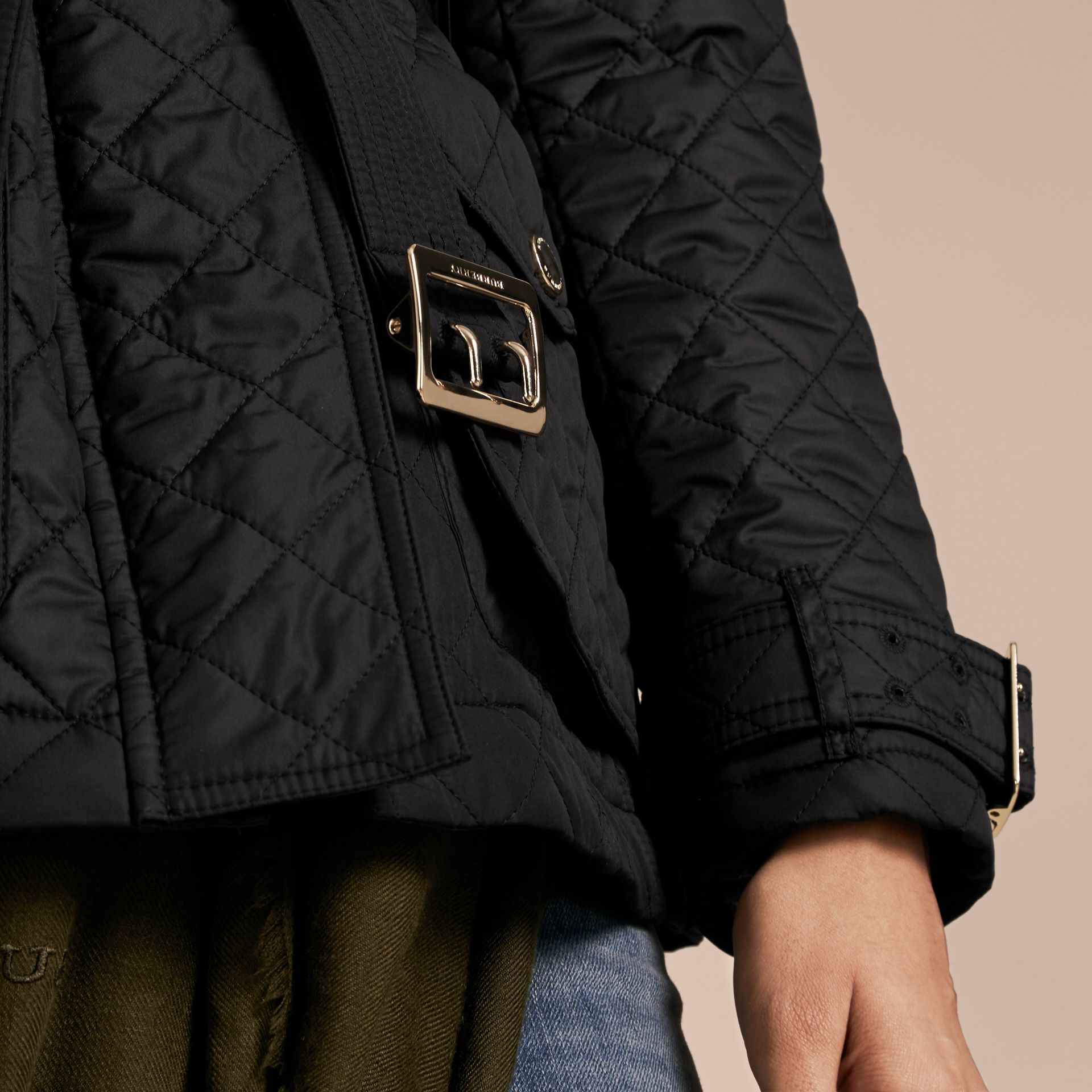 Black Buckle Detail Technical Field Jacket Black - gallery image 5