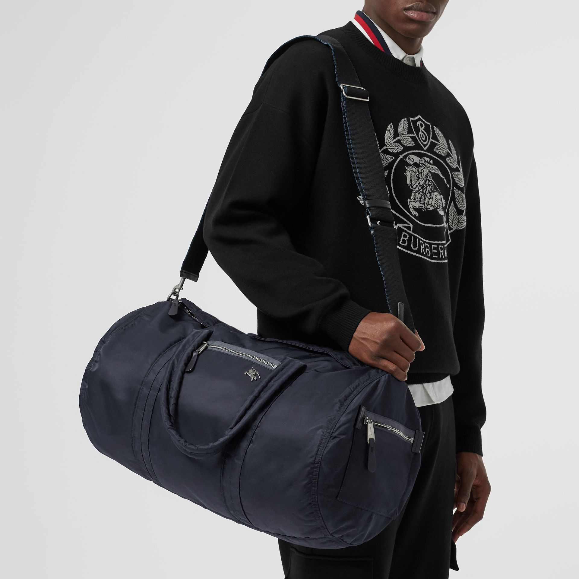 Large EKD Aviator Nylon and Leather Barrel Bag in Ink Blue - Men | Burberry - gallery image 3