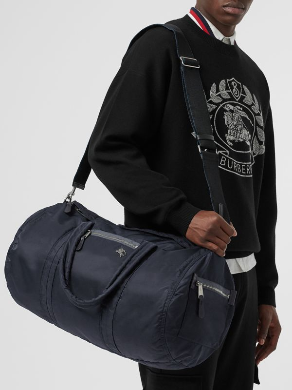 Large EKD Aviator Nylon and Leather Barrel Bag in Ink Blue - Men | Burberry - cell image 3