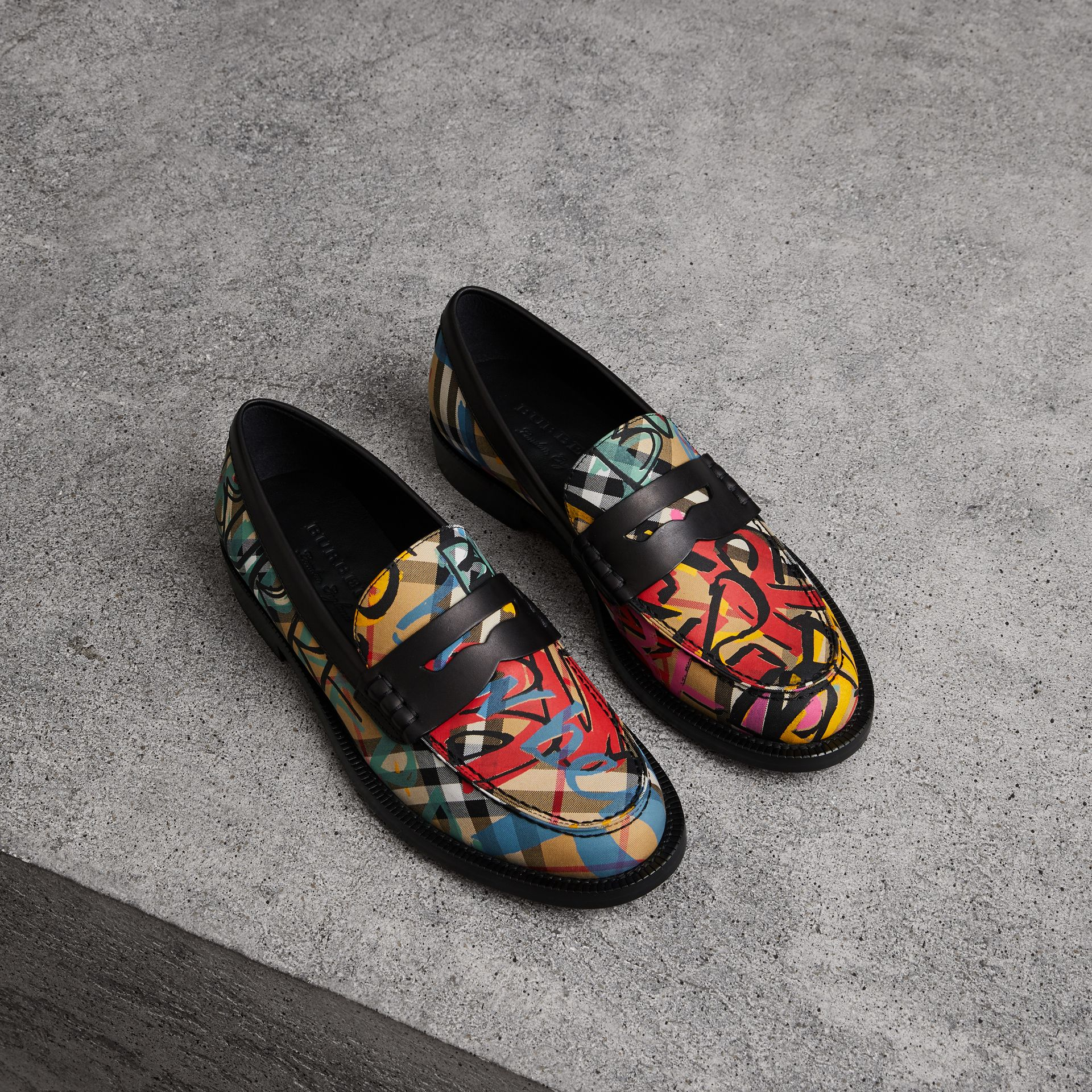 Graffiti Vintage Check Cotton Penny Loafers in Antique Yellow - Women | Burberry United Kingdom - gallery image 0