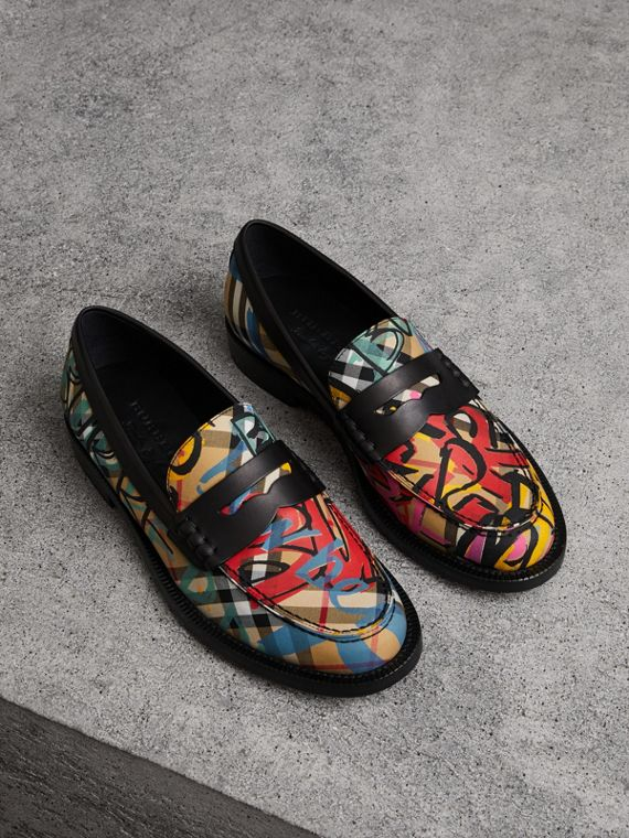 Graffiti Vintage Check Cotton Penny Loafers in Antique Yellow