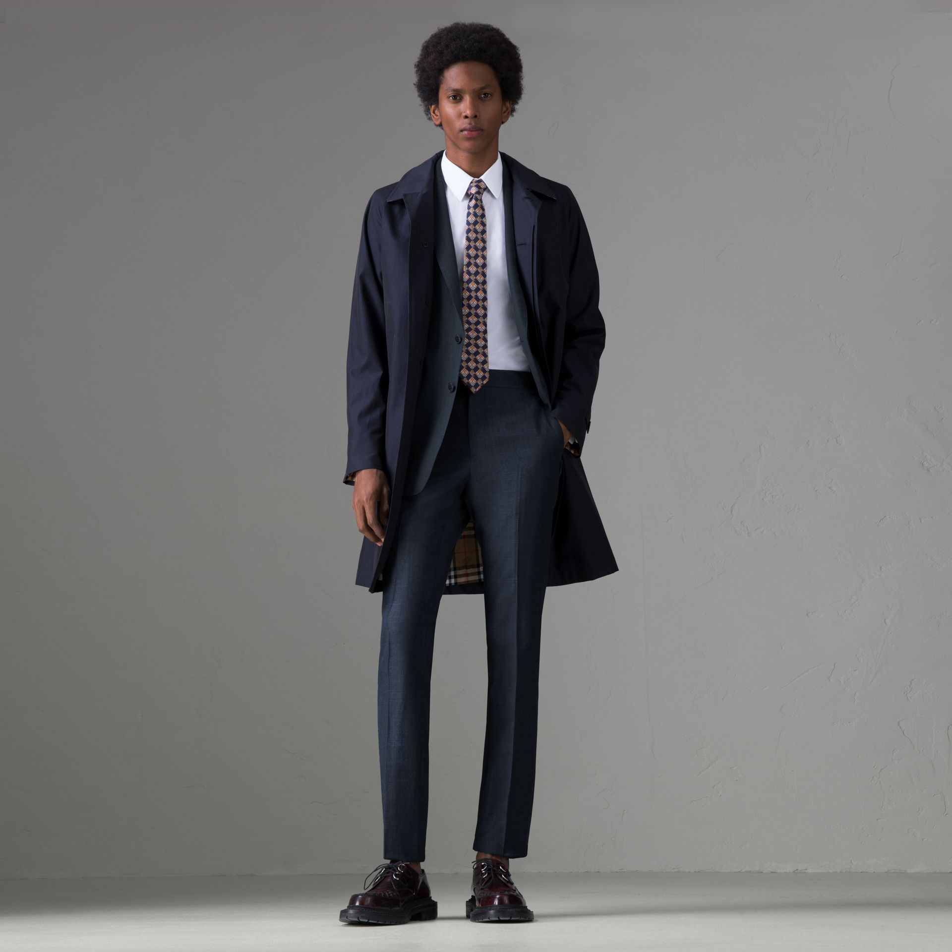 Slim Fit Wool Silk Linen Suit in Bright Navy - Men | Burberry Singapore - gallery image 0