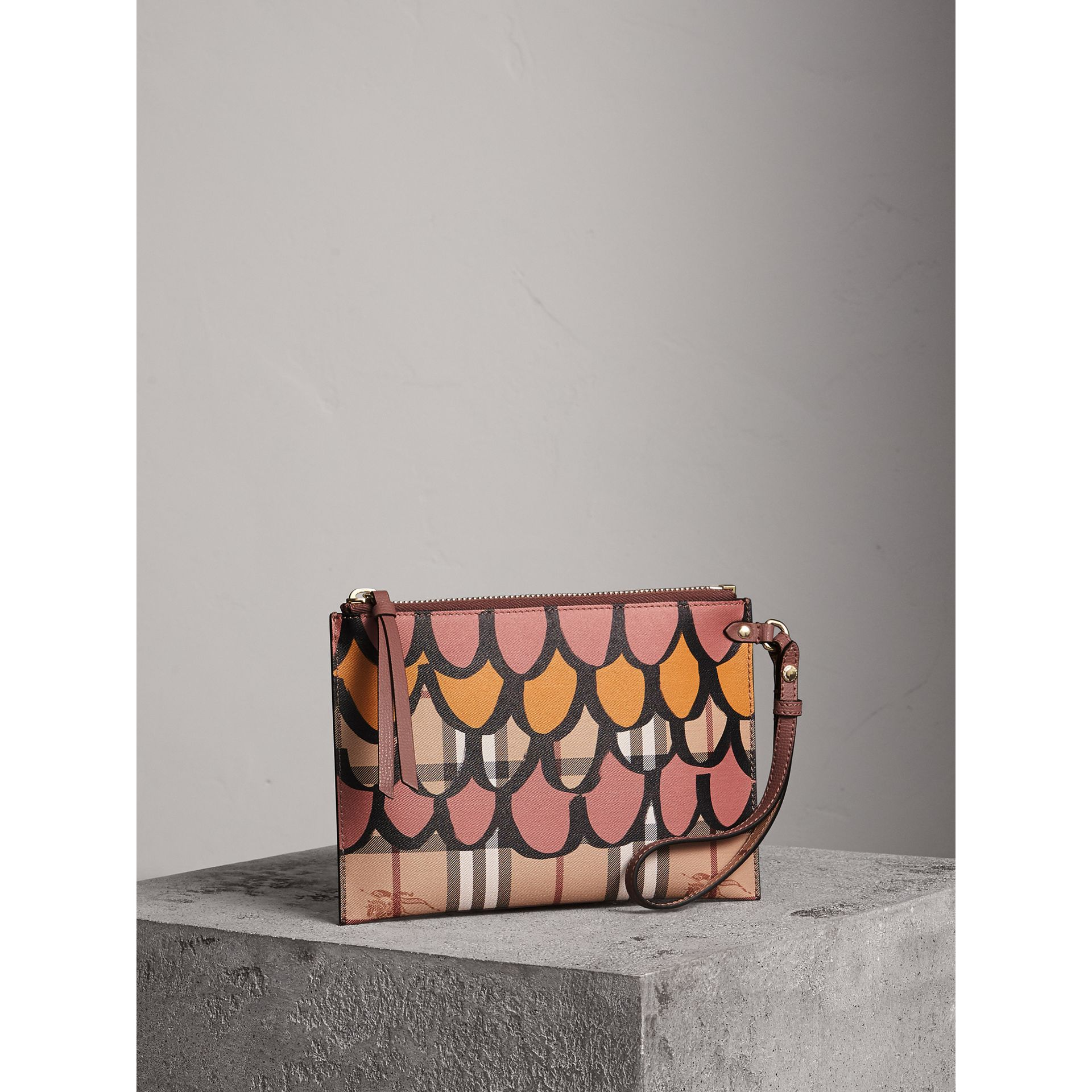 Trompe L'oeil Haymarket Check and Leather Pouch in Dusty Pink - Women | Burberry Australia - gallery image 6