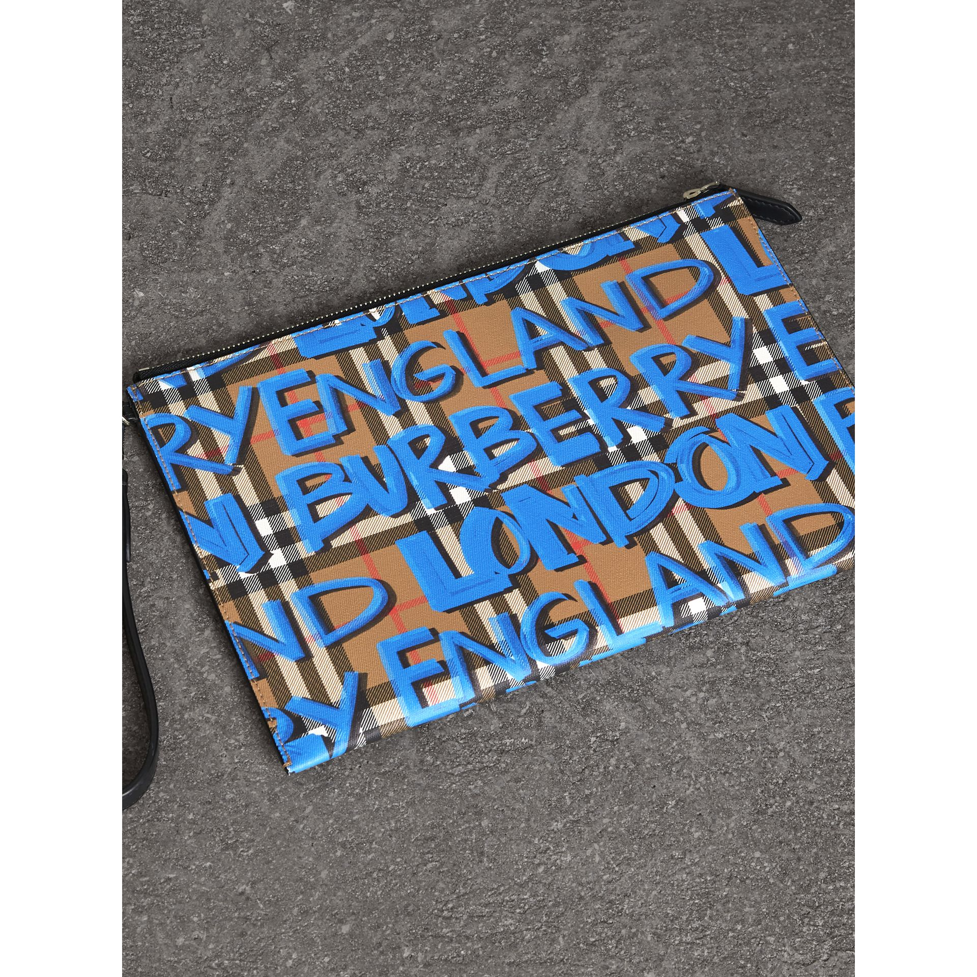 Graffiti Print Vintage Check Leather Zip Pouch in Canvas Blue/antique Yellow | Burberry Australia - gallery image 2