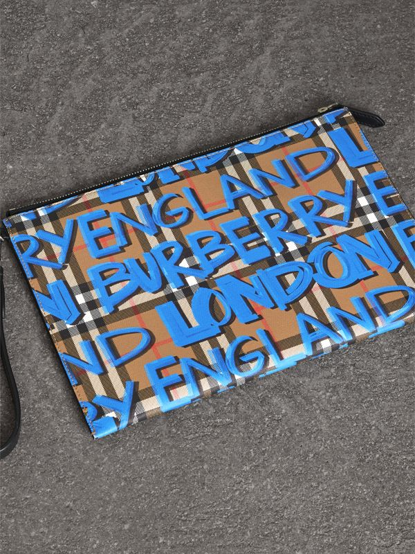 Graffiti Print Vintage Check Leather Zip Pouch in Canvas Blue/antique Yellow | Burberry Australia - cell image 2