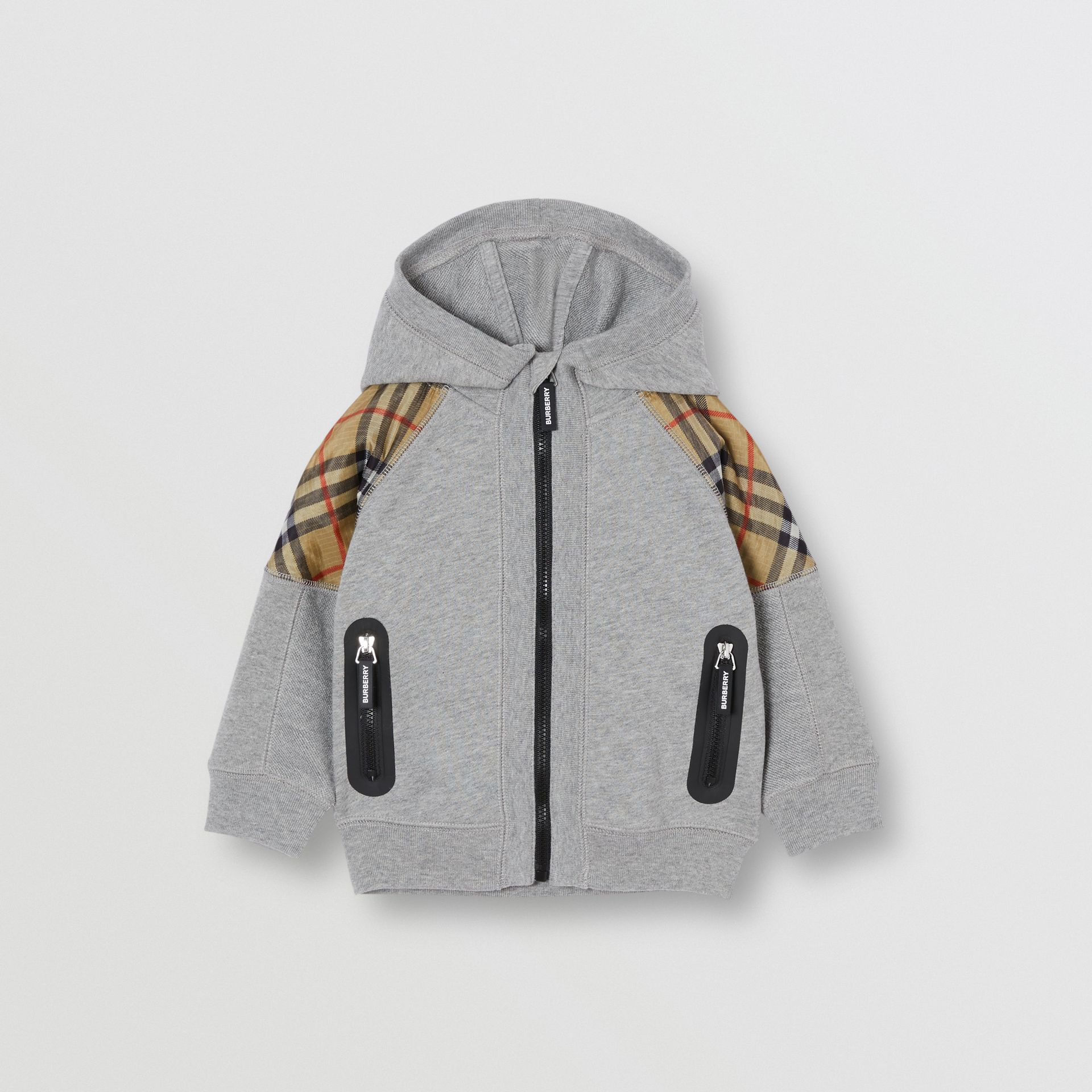 Vintage Check Panel Cotton Hooded Top in Grey Melange - Children | Burberry Australia - gallery image 0