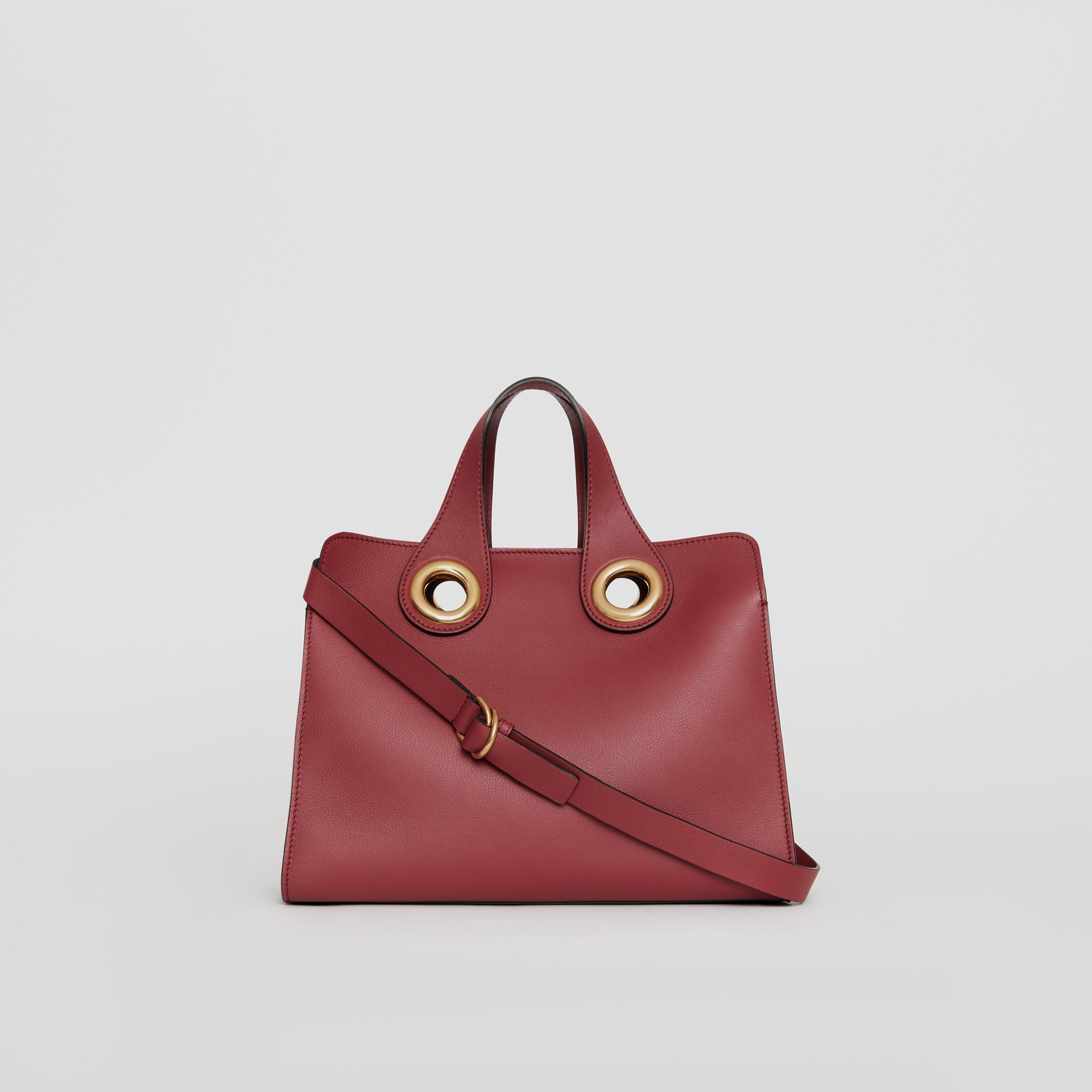 The Leather Crest Grommet Detail Tote in Crimson - Women | Burberry - gallery image 7