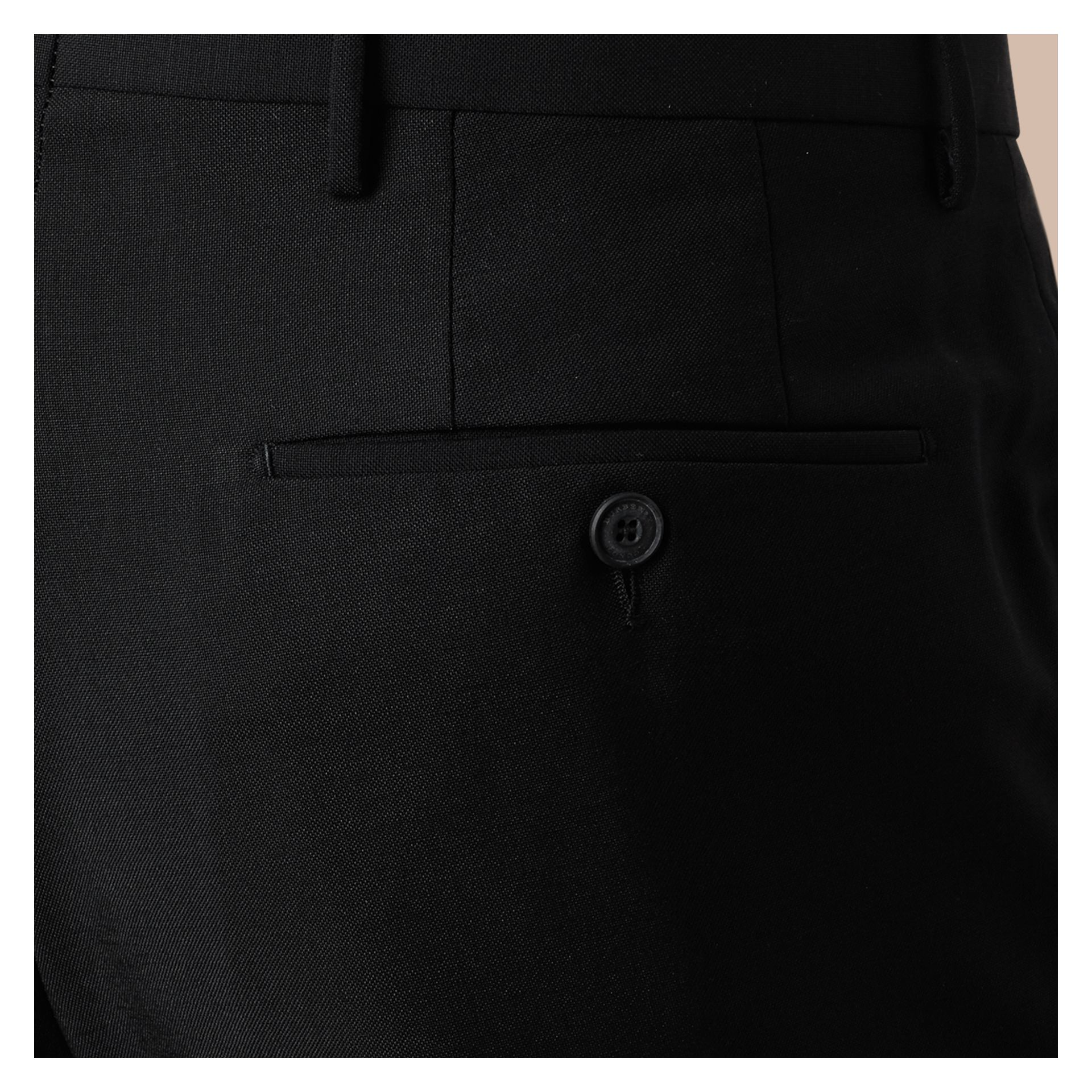Black Modern Fit Wool Mohair Trousers Black - gallery image 2