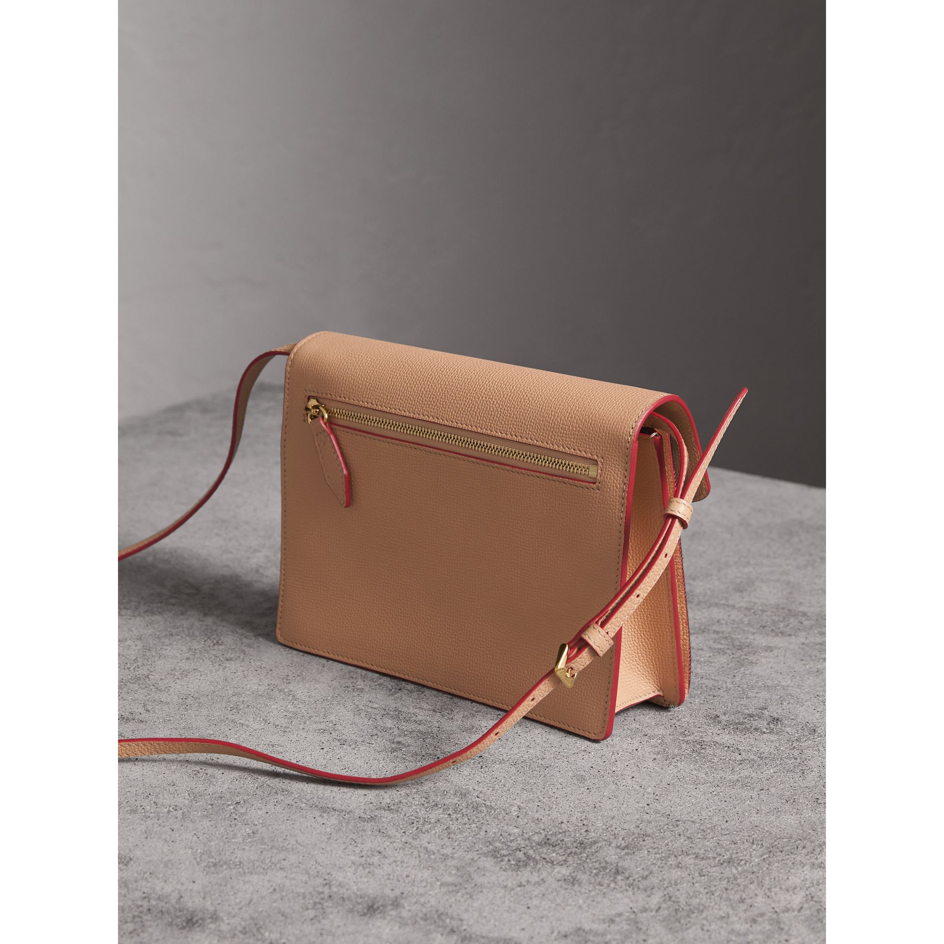 Small Leather and House Check Crossbody Bag in Pale Apricot - Women | Burberry Australia - gallery image 3