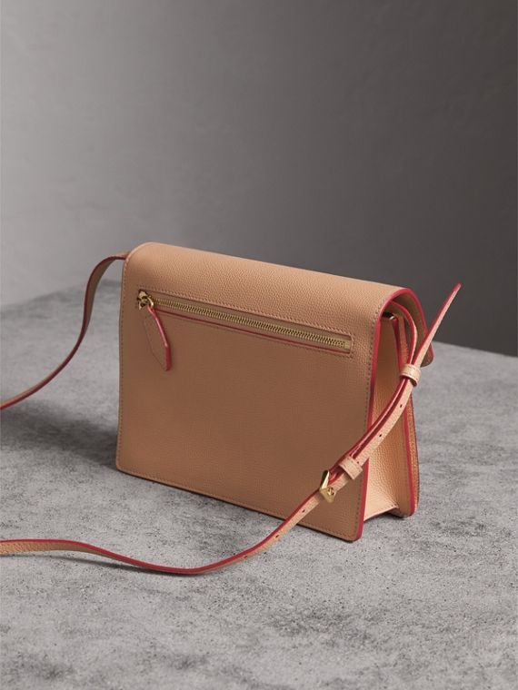 Small Leather and House Check Crossbody Bag in Pale Apricot - Women | Burberry Australia - cell image 2