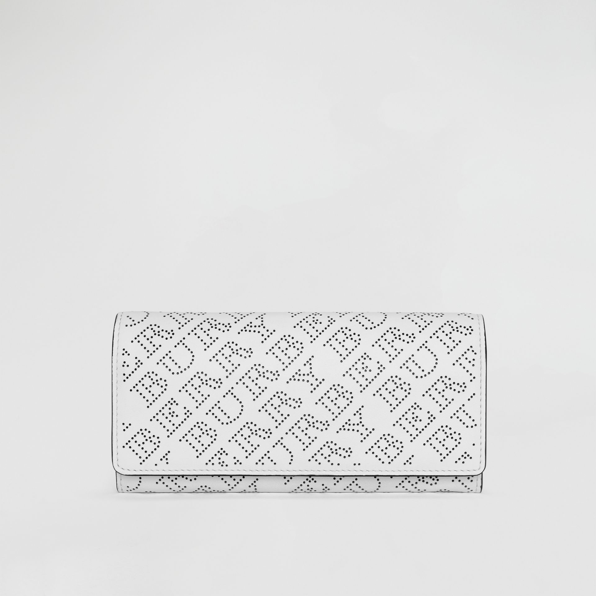 Perforated Logo Leather Continental Wallet in White - Women | Burberry - gallery image 0