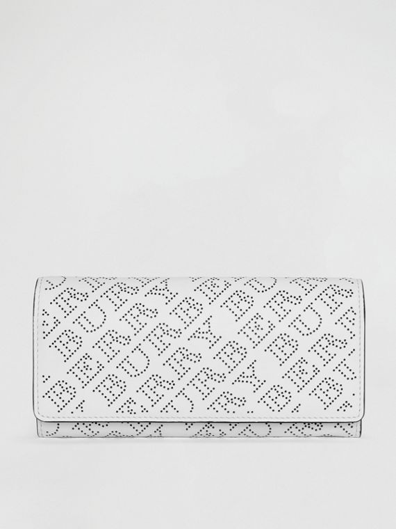 Perforated Logo Leather Continental Wallet in White