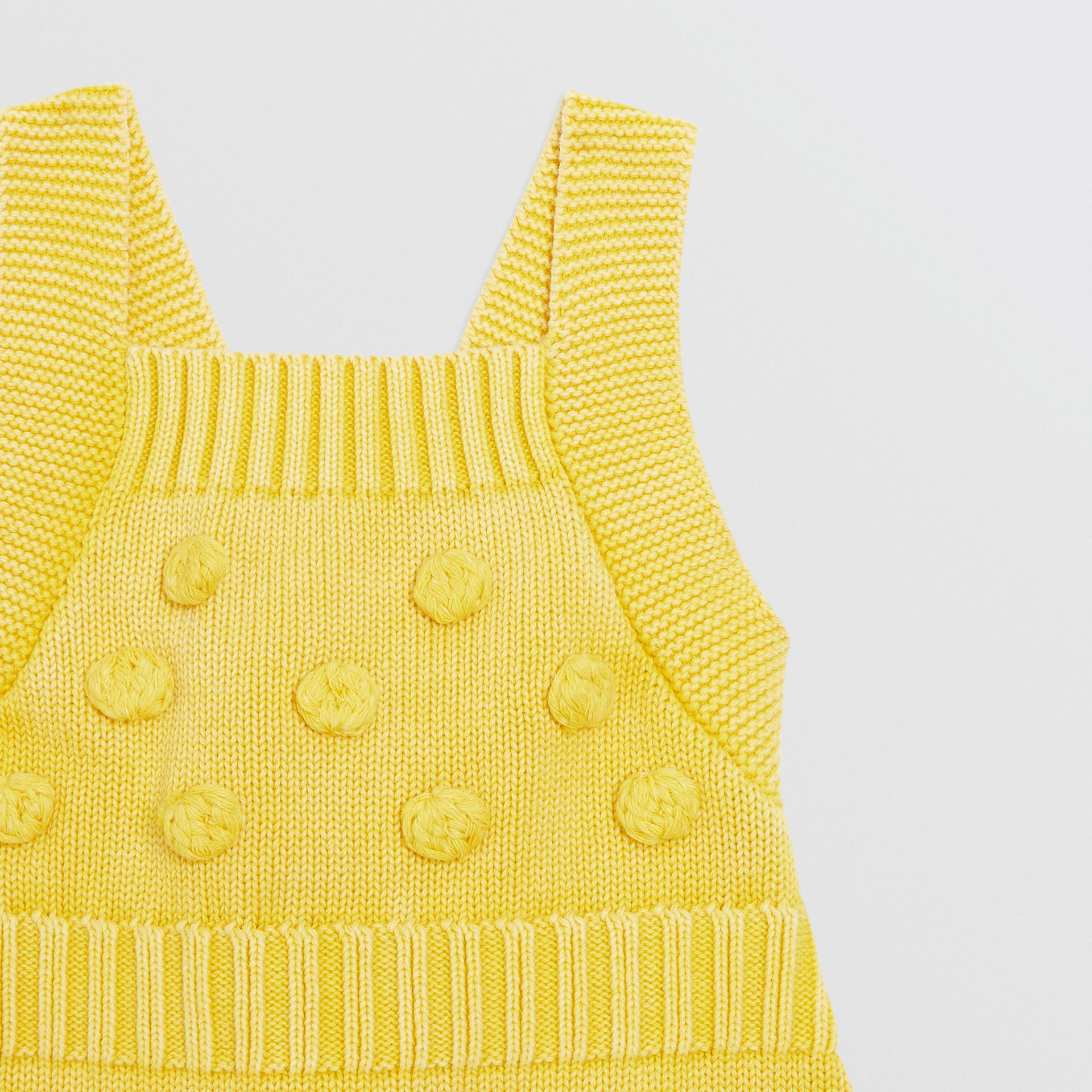 Contrast Knit Cotton Playsuit in Citrus Yellow - Children | Burberry United Kingdom - gallery image 4