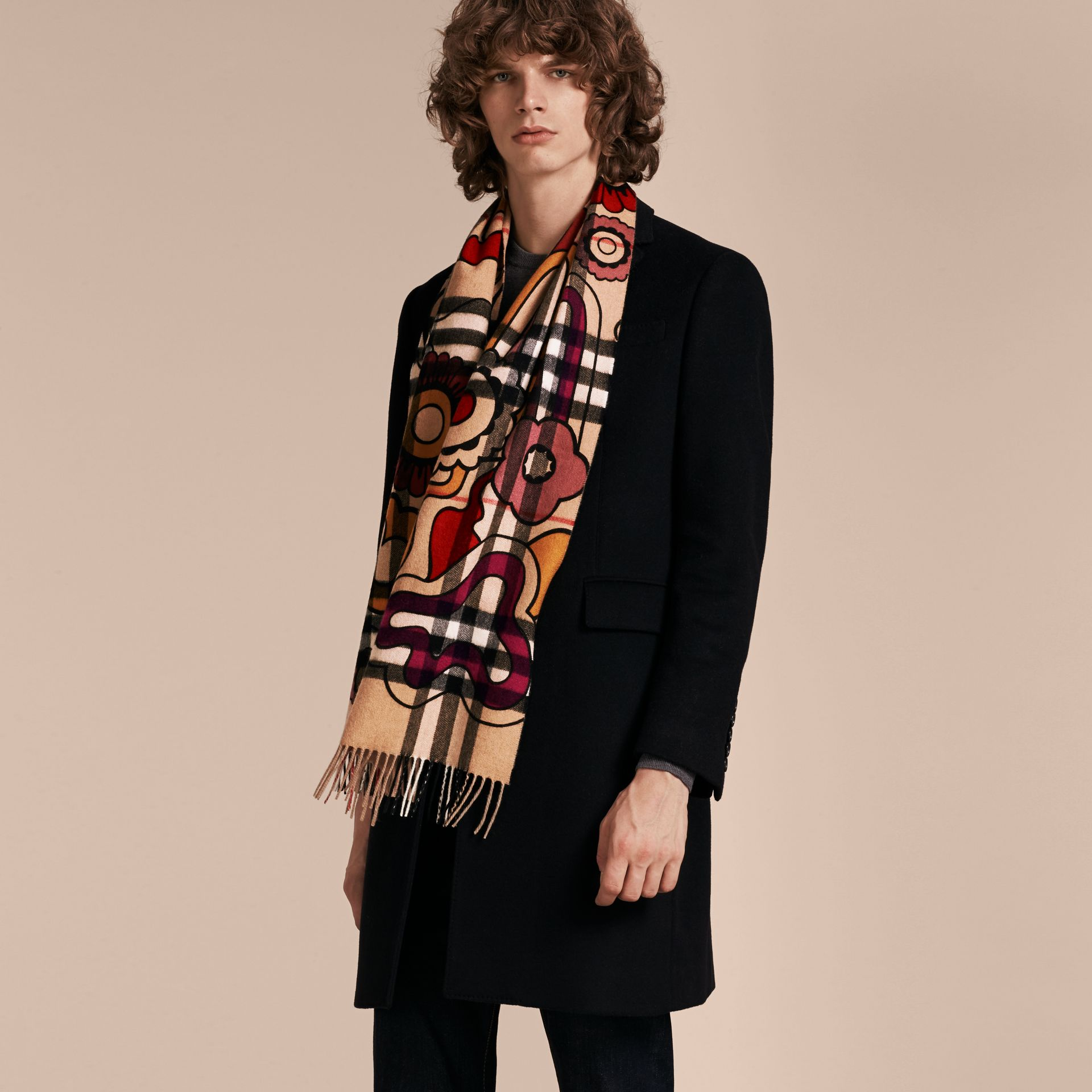 Floral Pop Print and Check Cashmere Scarf Camel/orange Red - gallery image 4