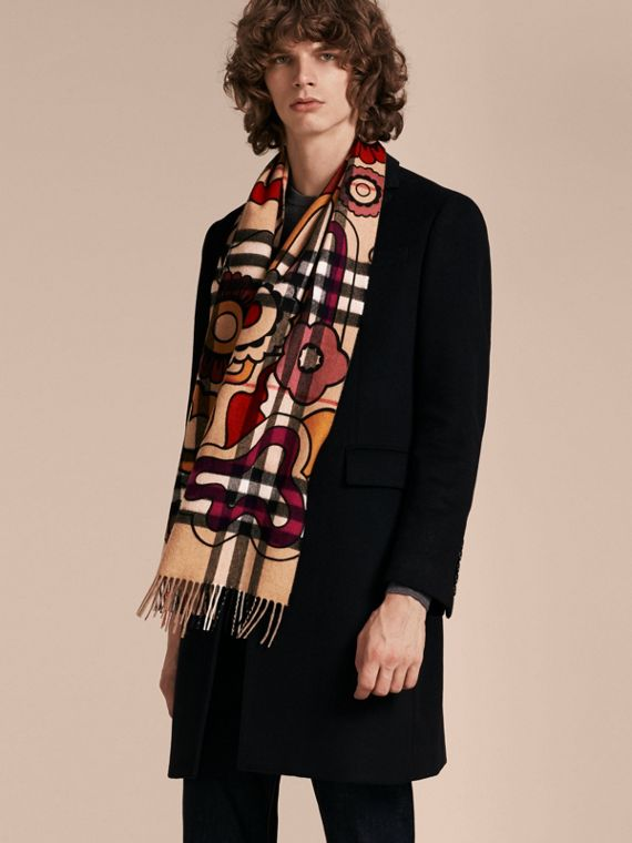 Floral Pop Print and Check Cashmere Scarf Camel/orange Red - cell image 3