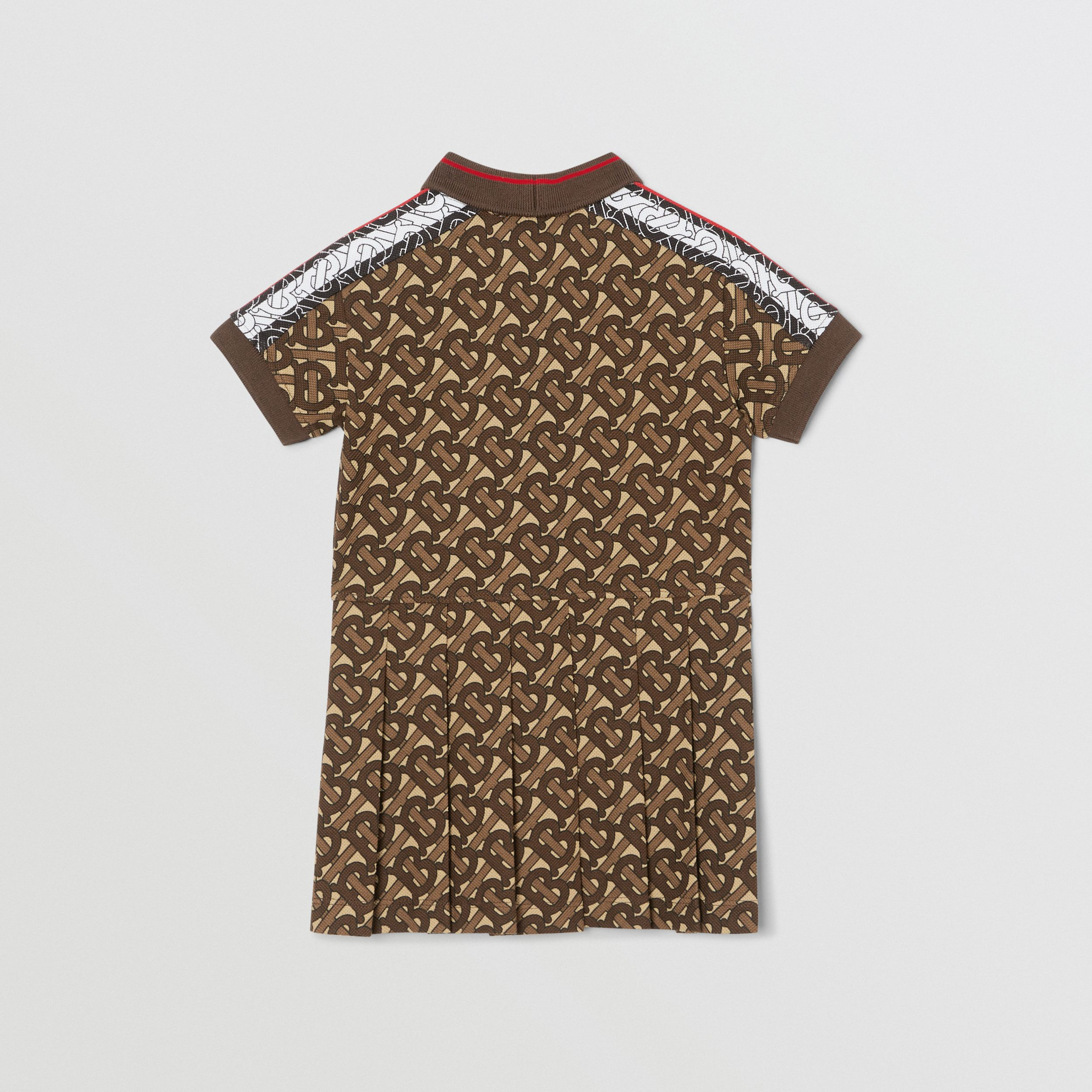 Monogram Stripe Print Cotton Polo Shirt Dress in Bridle Brown - Children | Burberry - 4
