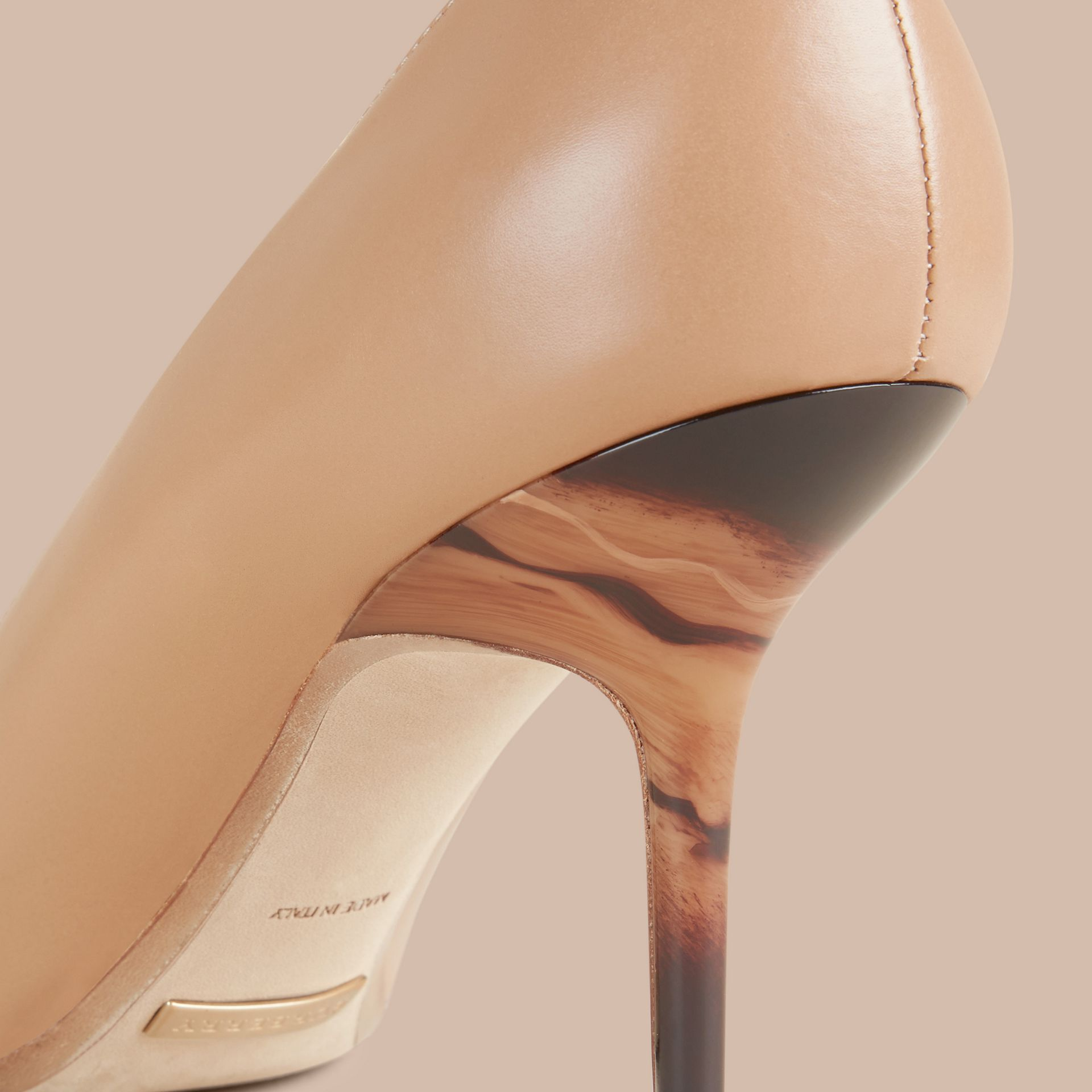 Nude Hand-painted Point-toe Leather Pumps - gallery image 2