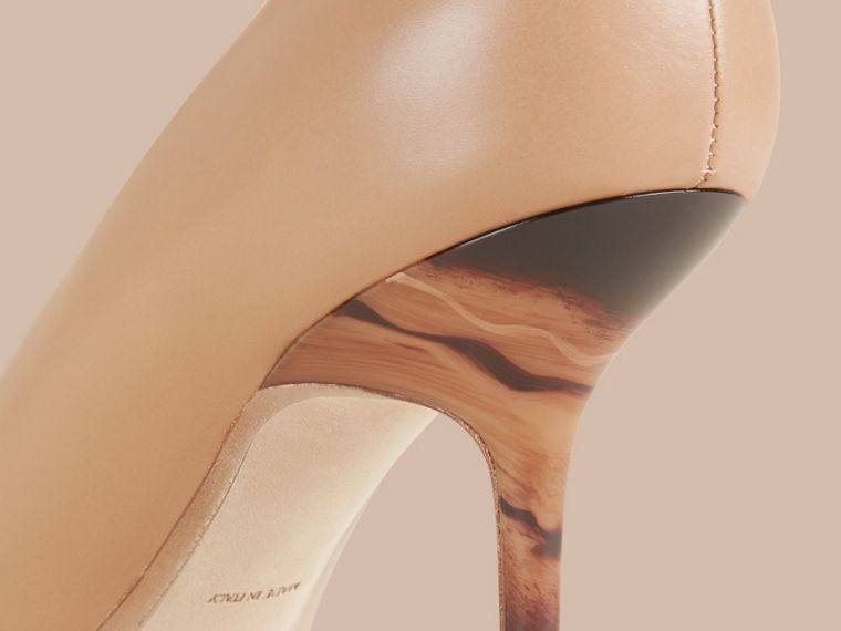 Nude Hand-painted Point-toe Leather Pumps - cell image 1