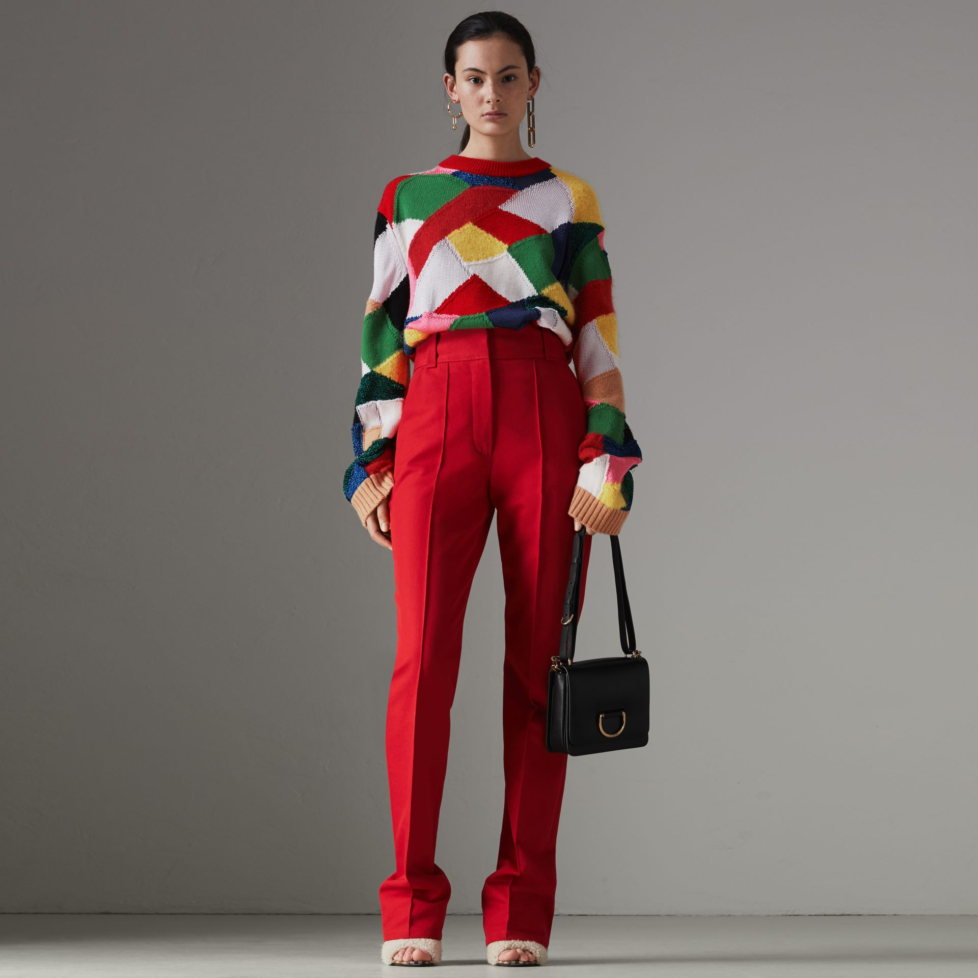 Patchwork Cashmere Wool Blend Sweater in Military Red - Women | Burberry - gallery image 0