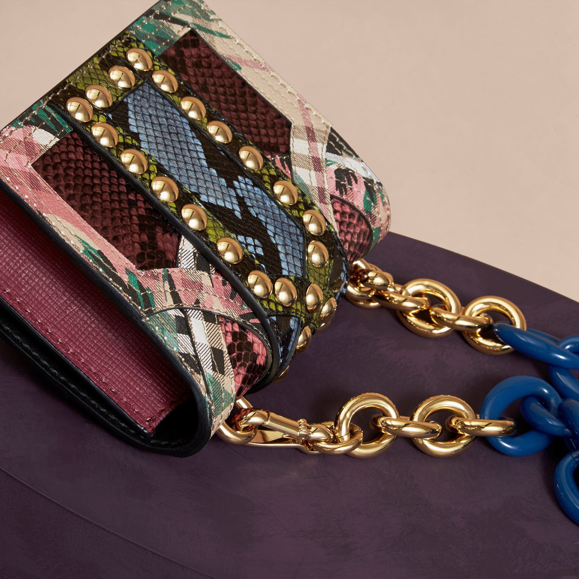 The Mini Square Buckle Bag in Riveted Snakeskin and Floral Print - gallery image 5