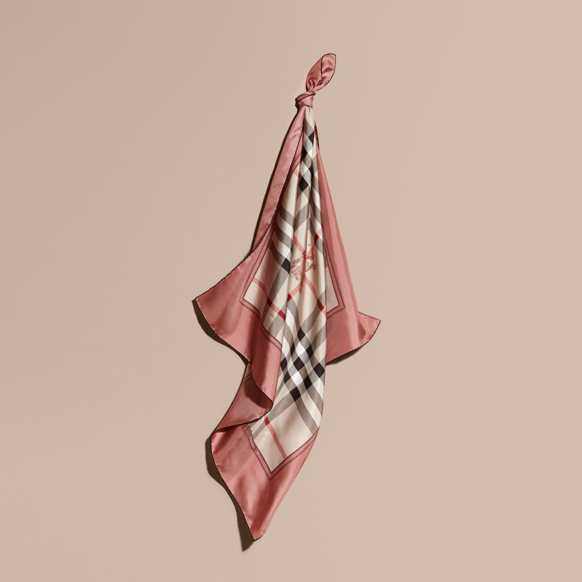 Antique pink Horseferry Check Silk Square – Medium Antique Pink - gallery image 1