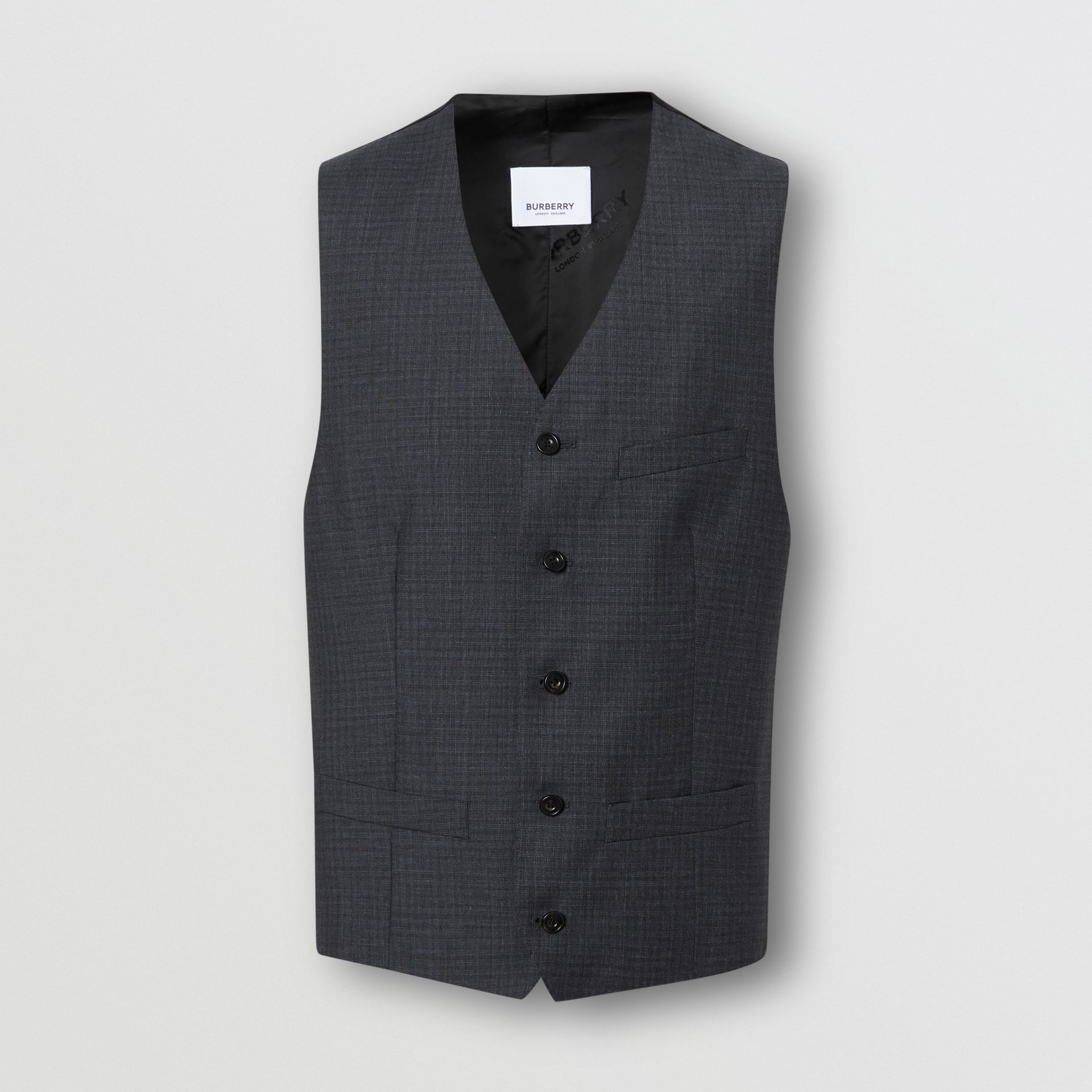 Classic Fit Check Wool Silk Three-piece Suit in Navy - Men | Burberry - gallery image 7