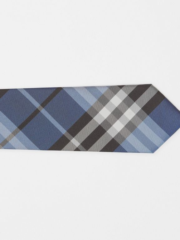 Modern Cut Vintage Check Silk Tie in Steel Blue - Men | Burberry - cell image 1