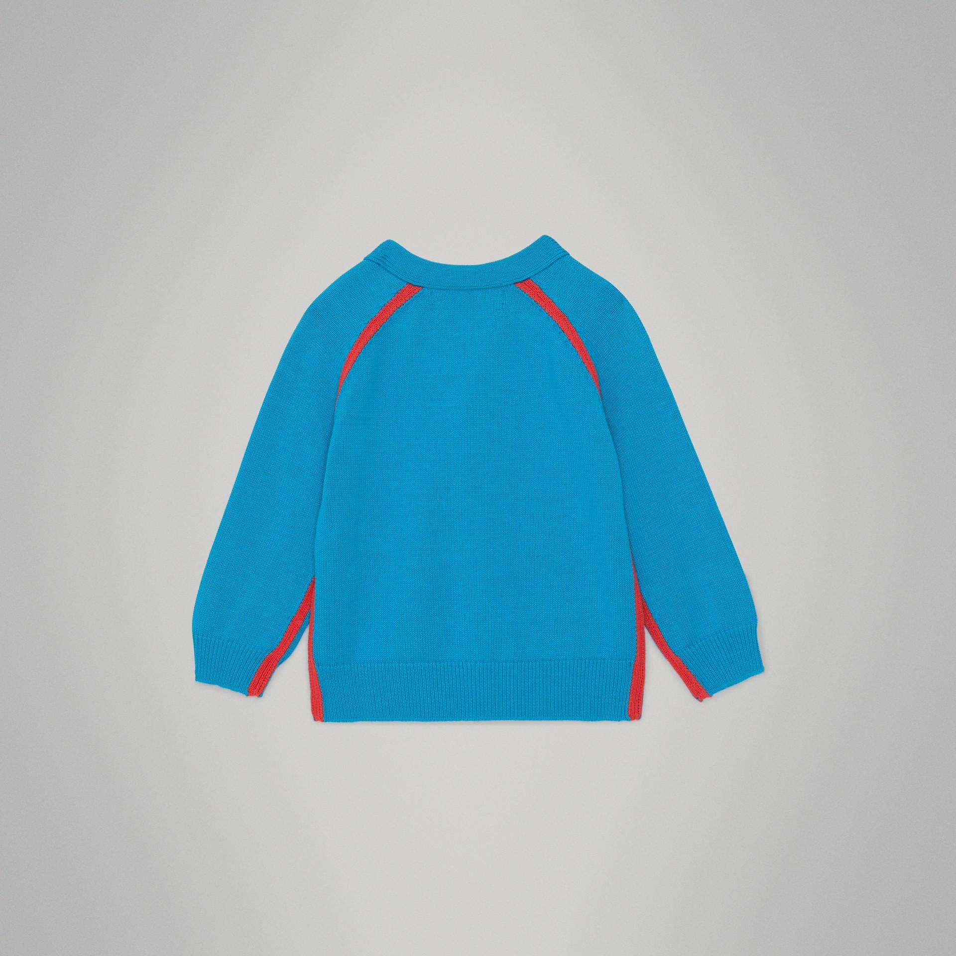 Cardigan en coton bicolore (Bleu Régate) - Enfant | Burberry - photo de la galerie 3