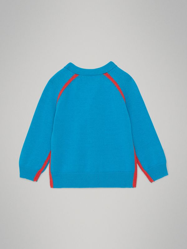 Two-tone Cotton Knit Cardigan in Regatta Blue - Children | Burberry Australia - cell image 3