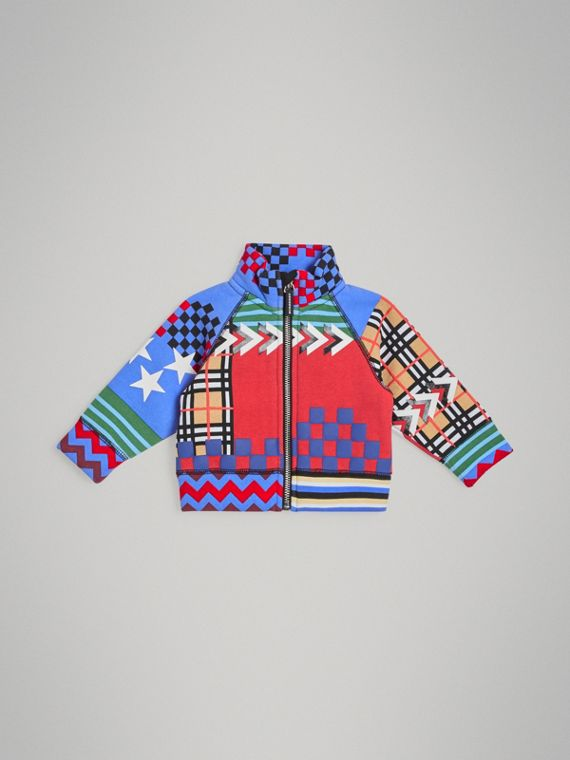 Graphic Print Jersey Track Top in Multicolour