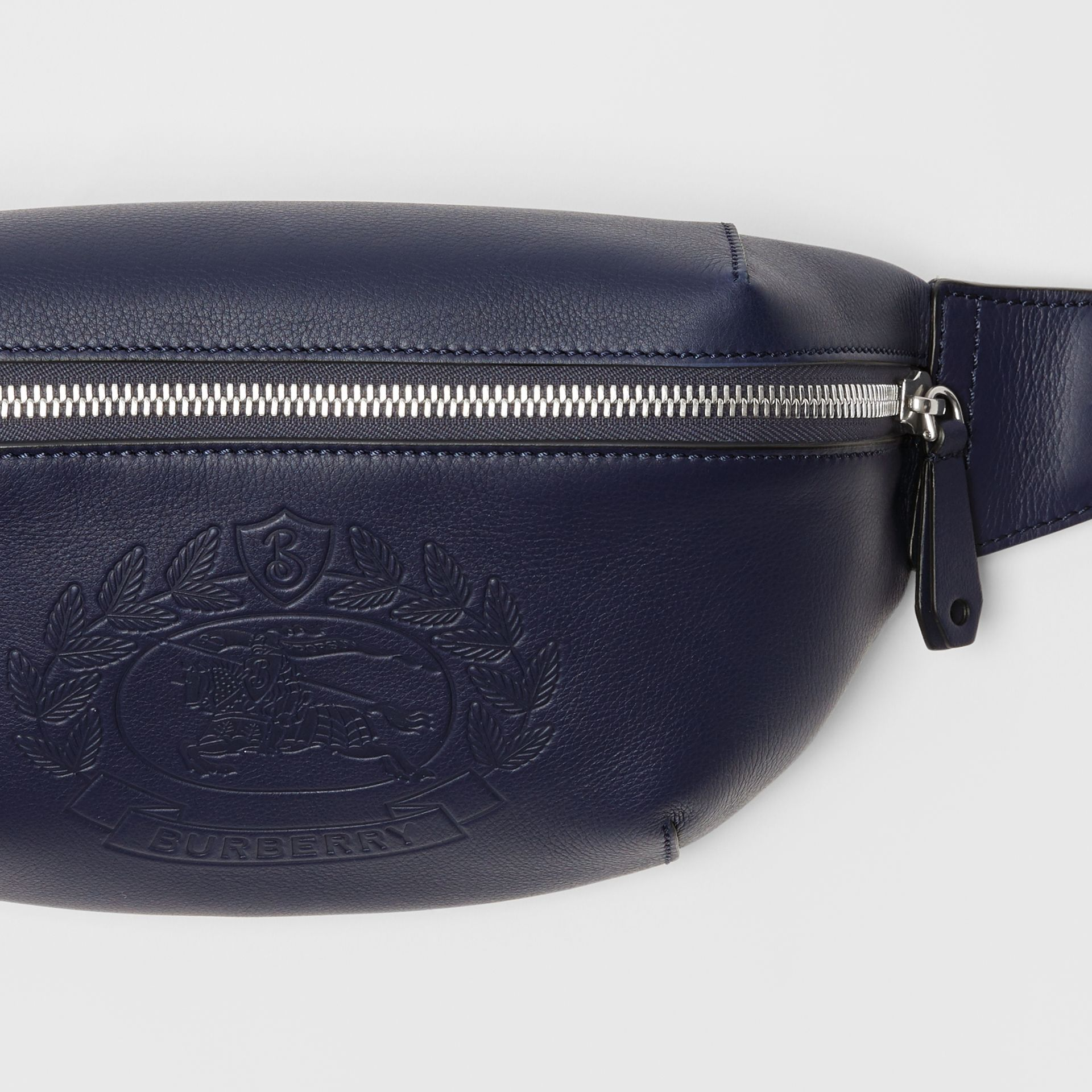 Medium Embossed Crest Leather Bum Bag in Regency Blue | Burberry Australia - gallery image 1
